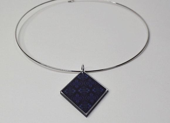 #MirroredAbstract Blue Diamond Hoop Necklace