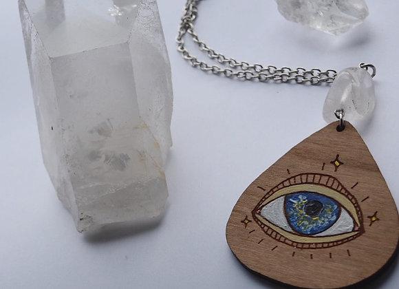 Clear Quartz Eye Amulet Necklace