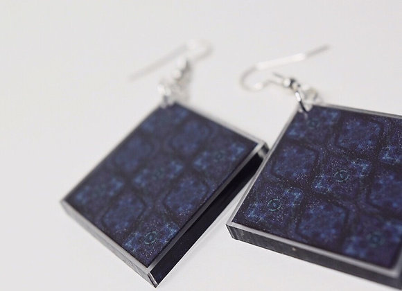 #MirroredAbstract Blue Diamond Earrings