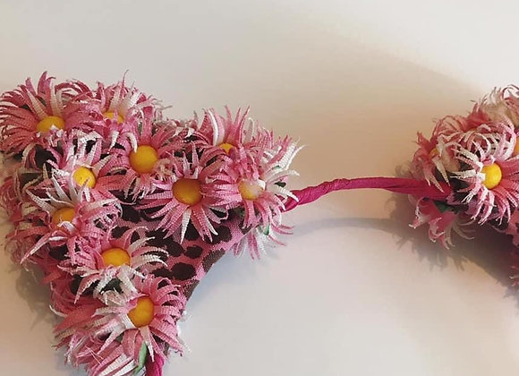 Pink Floral Cat Ears Headpiece