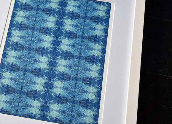 A4 Aqua Aura Waves Mirrored Print