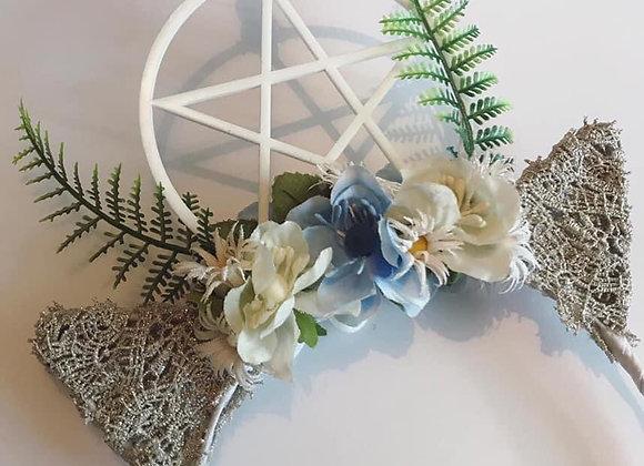 Cat ear Floral Pentagram Crystal Headpiece