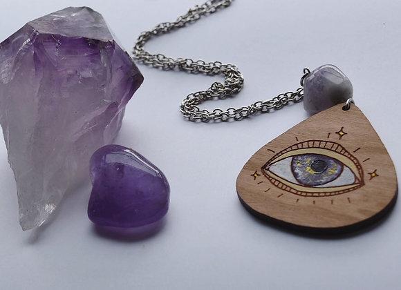 Amethyst Quartz Eye Amulet Necklace
