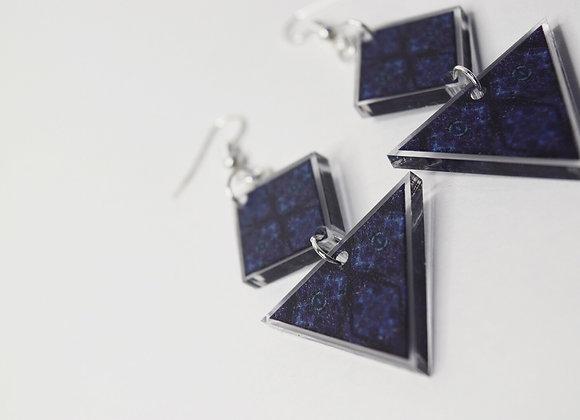 #MirroredAbstract Blue Diamond Goddess Triangle Earrings