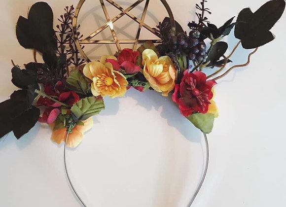 Black pentagram floral headband