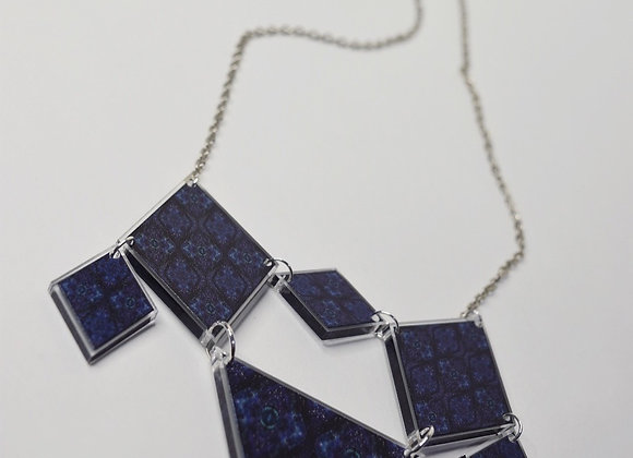 Mirrored Abstract Blue Diamond Necklace