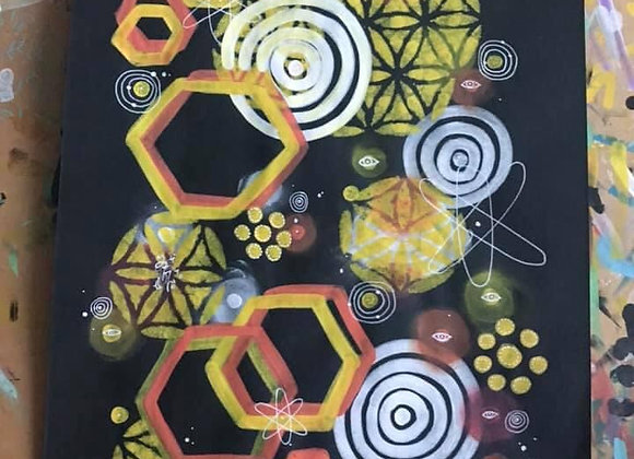 Atomic Hexagons A3 Original