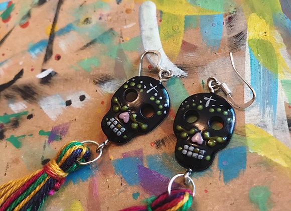 Black painted Skull and tassel earrings
