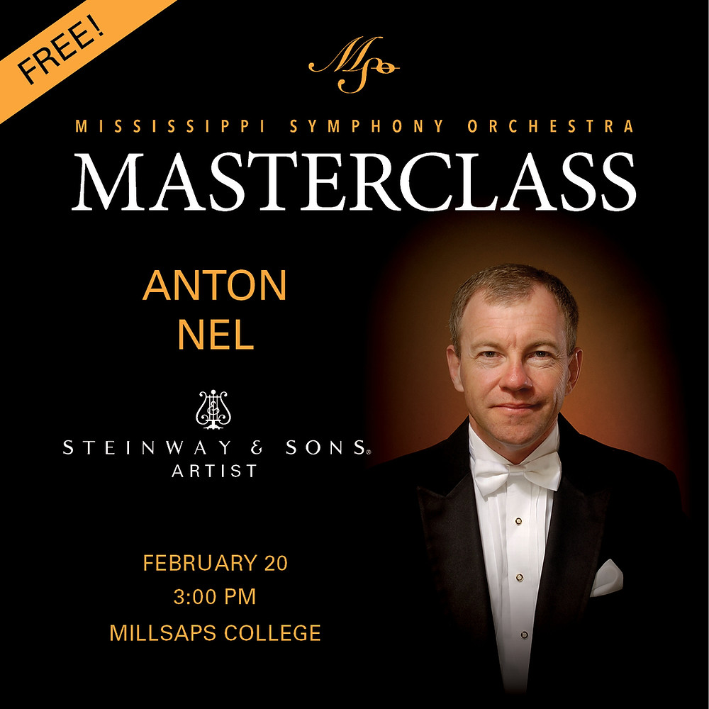 Mississippi Symphony Orchestra present A Masterclass with Pianist Anton Nel