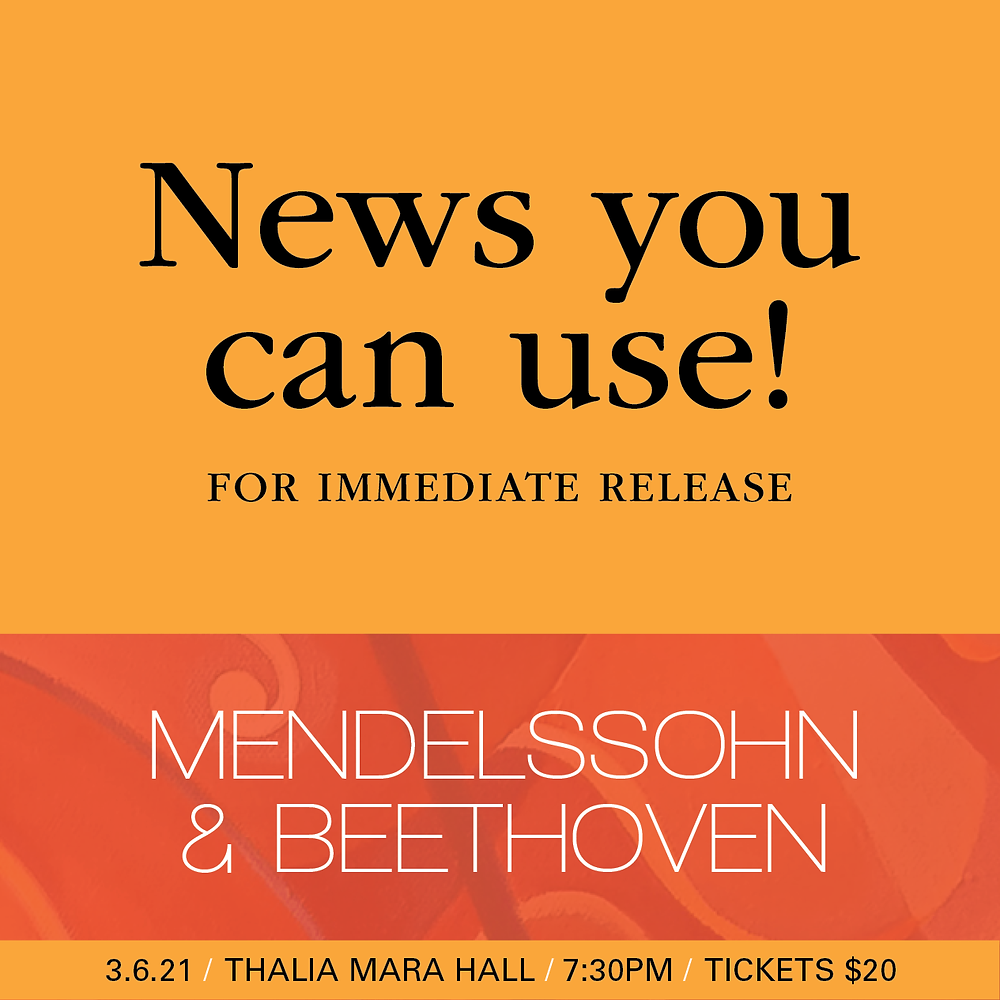 """For Immediate Release: MSO Presents Aural Scenes and Bold Artistry in Bravo III """"Mendelssohn and Beethoven"""""""