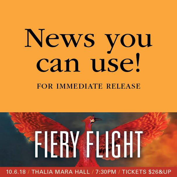 MSO presents Fiery Flight Saturday, October 6 at Thalia Mara Hall