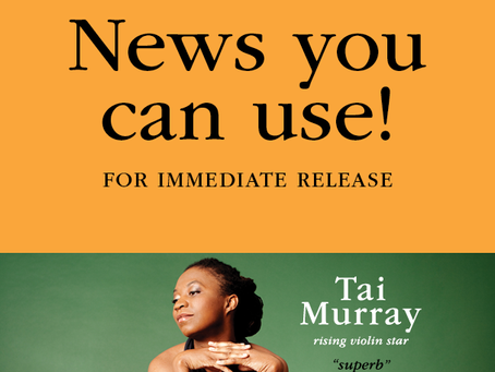 FOR IMMEDIATE RELEASE: MSO Welcomes International Rising Violin Star, Tai Murray