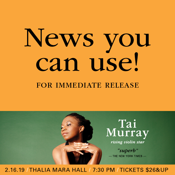 News you can use! For Immediate Release: Tai Murray joins MSO for String Sensation.