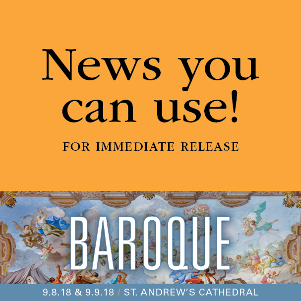 MSO presents Baroque Saturday, September 8 and Sunday, September 9 at St. Andrew's Cathedral