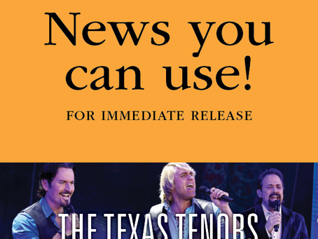 """FOR IMMEDIATE RELEASE: Emmy Award winners """"The Texas Tenors"""" coming to Jackson 2-2-19"""