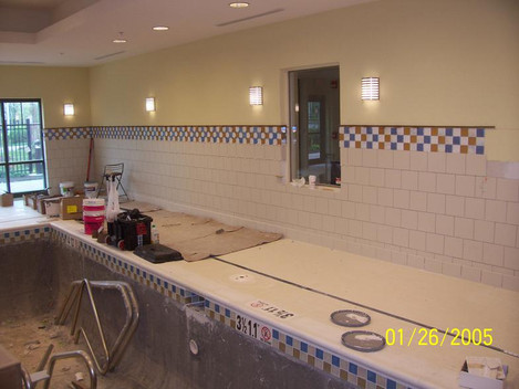 Hotel pool wall in process of construction