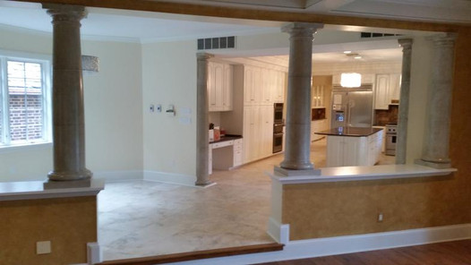 Another view of travertine over heated floor