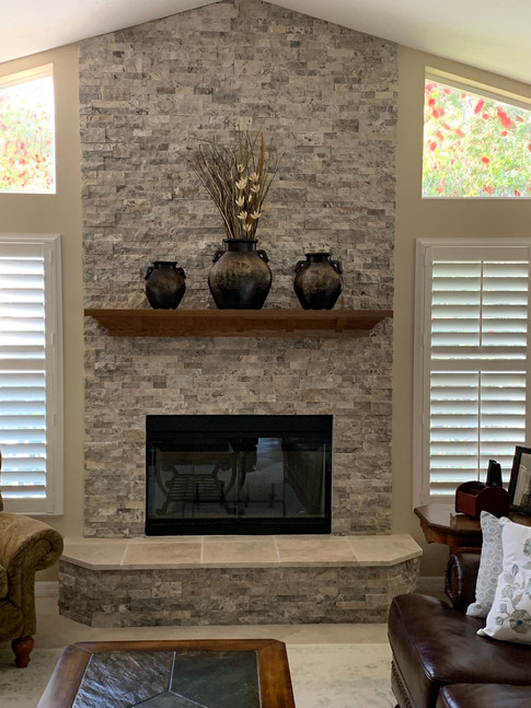 Stacked ledger stone fireplace