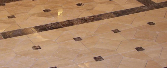 Dermatology entrance with polished travertine marble-detailed view