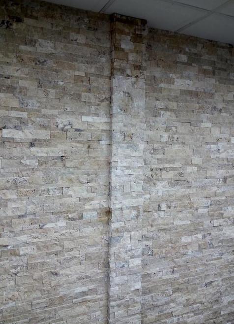 Stacked ledger stone column detail