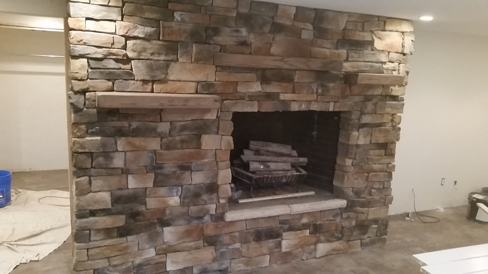 Stacked random stone fireplace