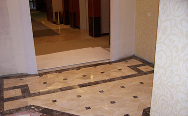 Dermatology entrance with polished travertine marble