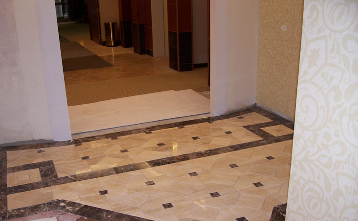 polished travertine fabricated to fit space