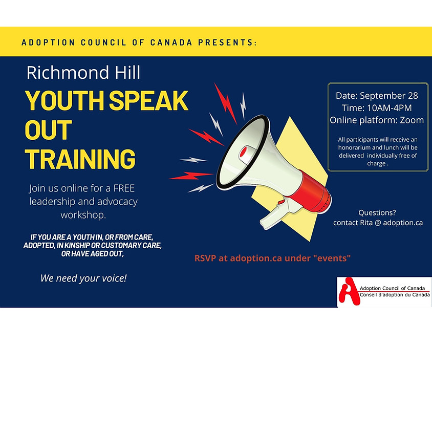 Richmond Hill Ontario YOUTH SPEAK OUT Training