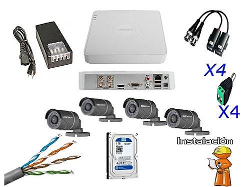 Kit de CCTV 4 Cámaras Todo Incluido.