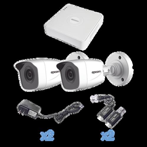 KIT TurboHD 720p / DVR 4 Canales / 2 Cámaras Bala (interior - exterior 2.8 mm)