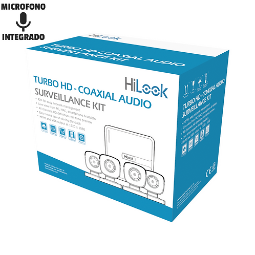 KIT 4 Cámaras 1080p Lite con audio/DVR 4 canales y Disco duro 1 TR WDPurple