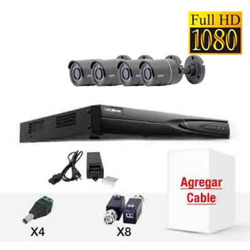 KIT DE CCTV CUATRO CÁMARAS HD1080