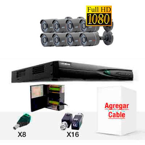 KIT DE CCTV OCHO CÁMARAS HD1080
