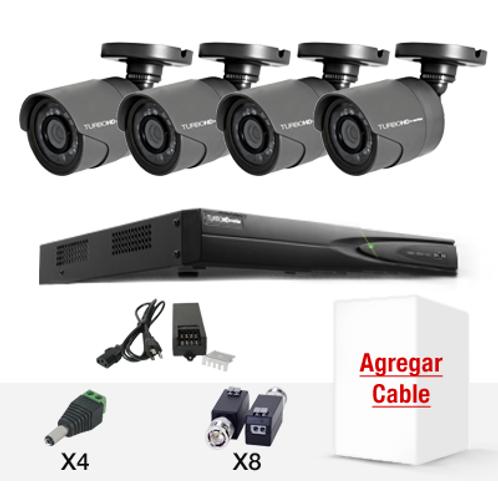 KIT DE CCTV CUATRO CÁMARAS HD720