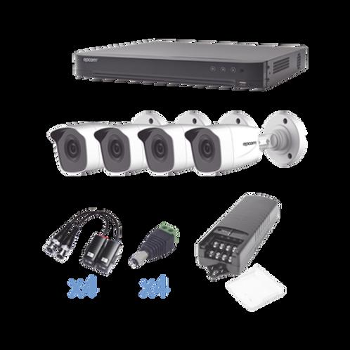 KIT TurboHD 1080p/DVR 4 Canales/4 Cámaras Bala ch(exterior 2.8 mm)/Transceptores