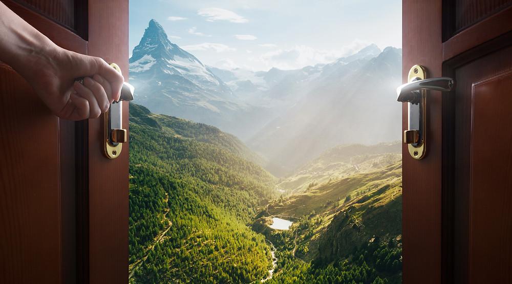 Door opening to a beautiful scene