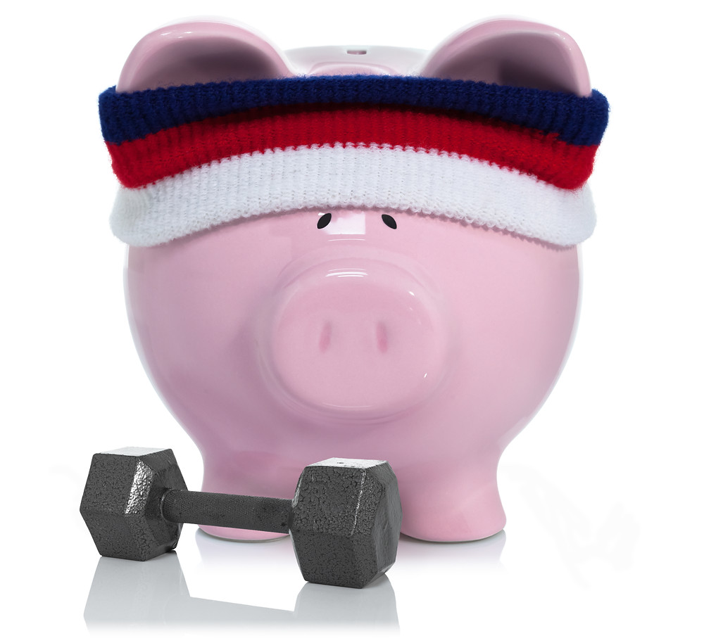 Piggy bank working out. how to make your money grow