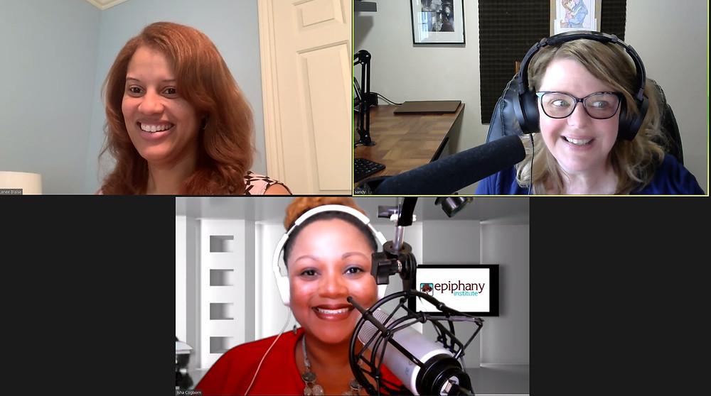 Lanee Blaise, Sandy Kovach and Isha Cogborn record Imagine Yourself Podcast via Zoom