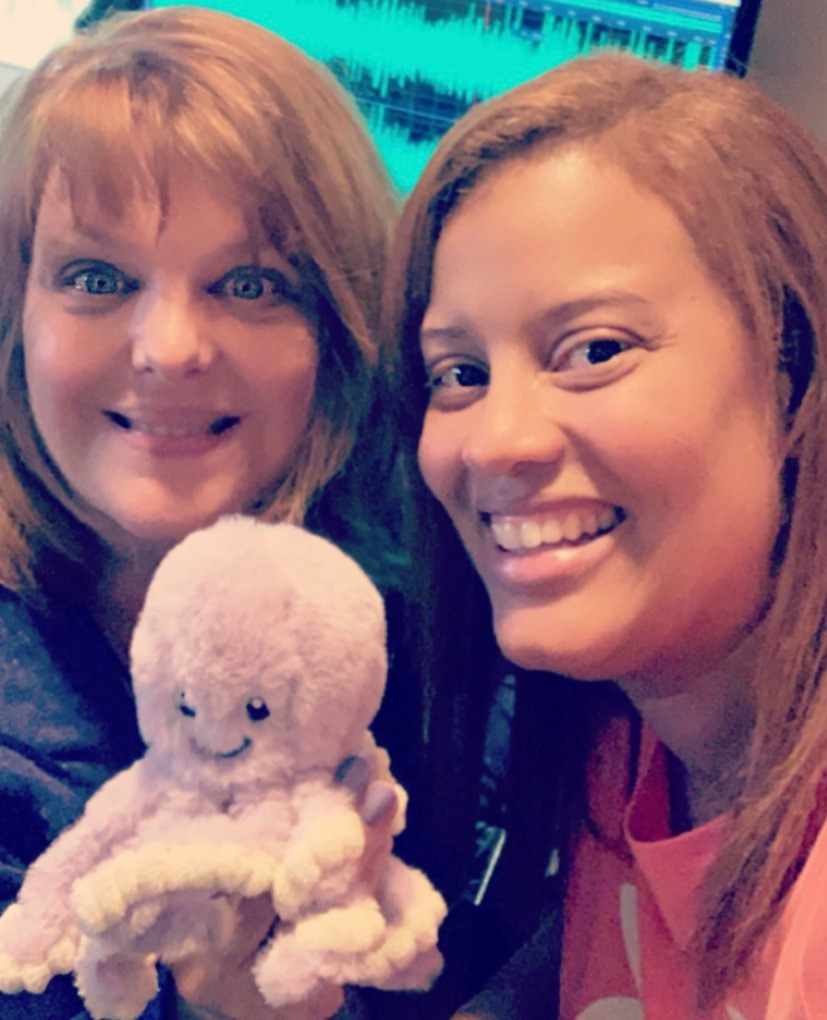 Sandy Kovach & Lanee Blaise with the Violet plushie book buddy!