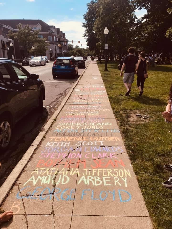 Sidewalk in Plymouth, MI leading to protest gathering