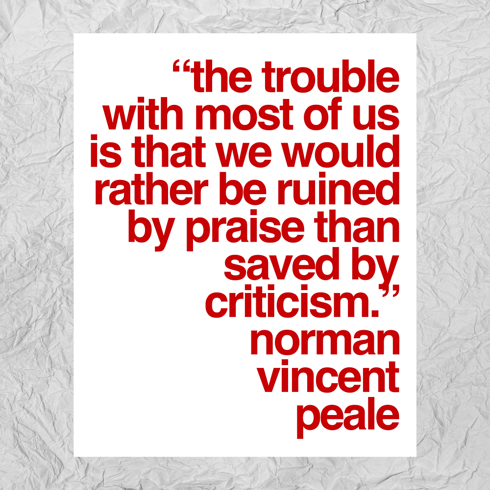 quote about accepting criticism by Norman Vincent Peale