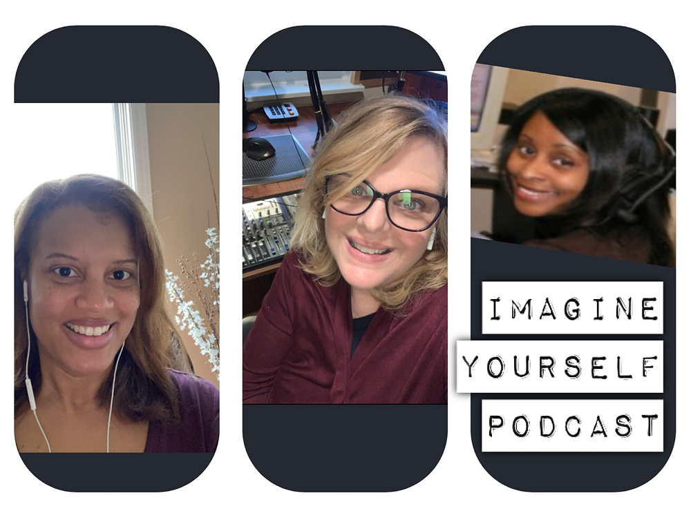 Lanee, Sandy and Chrystal record podcast remotely