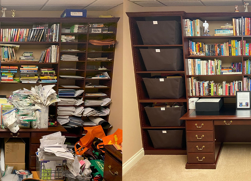 Organized shelves from a professional organizer. Before and after
