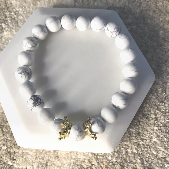 White Howlite with gold crowns