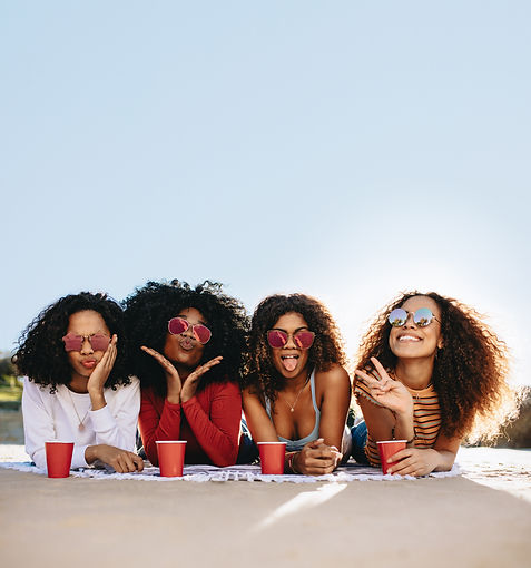Group of beautiful girls hanging out at