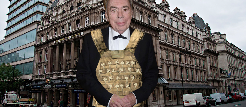 """""""Come & Get Me, Pigs!"""" Shouts Andrew Lloyd Webber Wearing Vest Made of Keys to Her Majesty's Theatre"""