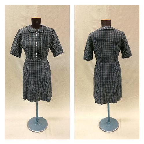 Vintage 50-l. kapea mekko skottiruudullista puuvillaa, koko n. M