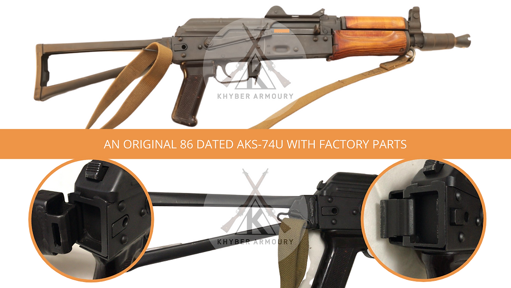 Fig.2.1. Right face: a factory AKS-74U and close-up of the mechanism. The rifle is a registered short-barrel rifle in the United States built from an original AKS-74U parts kit and an American receiver. (Source: Silah Report Research Library)