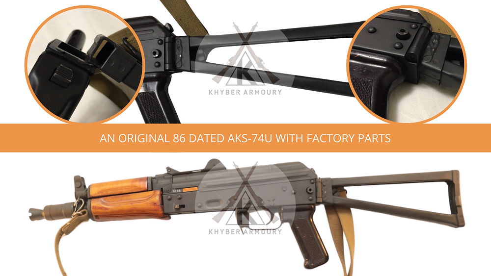 Fig.2.2. Left face: a factory AKS-74U and close-up of the mechanism (Source: Silah Report Research Library)