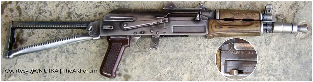 Fig.1.6. A Type 3 AK shortened and modified to resemble an AKS-74U or 'Krinkov' has the side-folding modification for the side-folder (Source: @CMUTKA | TheAKForum)